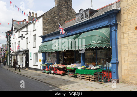Powells old fashioned greengrocer and fruit seller on Main Street in Sedbergh, Cumbria. - Stock Photo