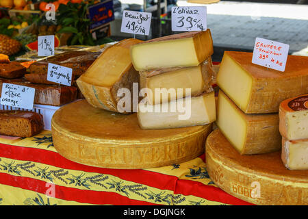 Cheese on sale at a weekly market, Frejus, Cote d'Azur, France, Europe - Stock Photo