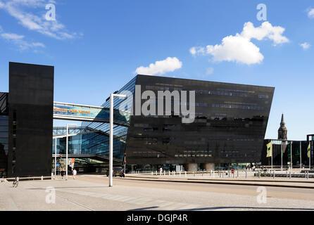 The Black Diamond, new construction of Royal Library, Copenhagen, Denmark, Scandinavia, Northern Europe - Stock Photo