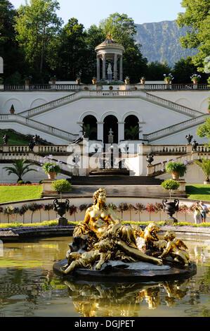 Schlosspark Linderhof palace gardens, castle of Bavarian King Ludwig II, Graswangtal valley, Oberammergau, Ammergau - Stock Photo