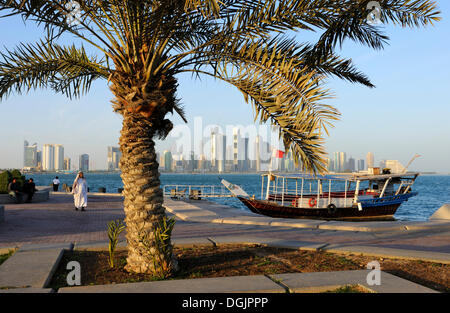 View from the Corniche to the skyline of Doha, West Bay District, Doha, Qatar, Arabian Peninsula, Persian Gulf, - Stock Photo