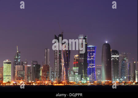 Skyline of Doha, West Bay District, Doha, Qatar, Arabian Peninsula, Persian Gulf, Middle East, Asia - Stock Photo