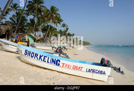 Boat rental on the beach, Punta Cana, Dominican Republic, Caribbean - Stock Photo