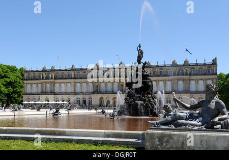 Schloss Herrenchiemsee Palace with Fortuna Fountain, Lake Chiemsee, Upper Bavaria, Bavaria - Stock Photo
