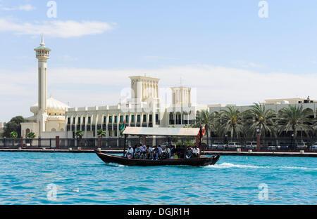 Dubai Grand Mosque, Abra, water taxi, at the Dubai Creek, Dubai, United Arab Emirates, Middle East - Stock Photo