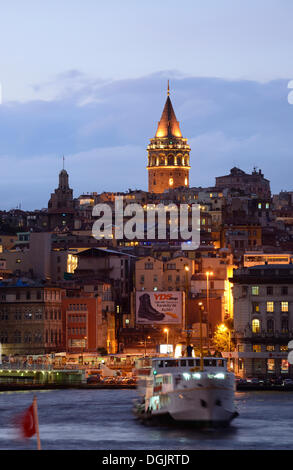 Galata Tower, Golden Horn, Beyoglu, Karaköy, Istanbul, European side, Istanbul Province, Turkey, European side - Stock Photo