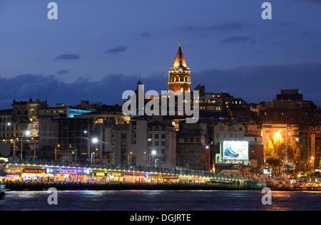 Galata Bridge, Galata Tower, Golden Horn, Beyoglu, Karaköy, Istanbul, European side, Istanbul Province, Turkey, - Stock Photo