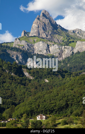 Aiguille de Varan in the Faucigny massif from Passy, Haute-Savoie, France. - Stock Photo