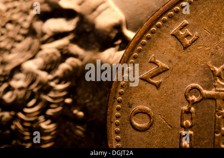 Closeup of One Pence Coin with Queens face - Stock Photo