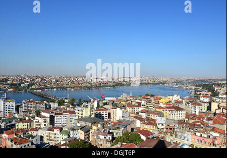 Golden Horn, Atatürk Bridge, view from Galata Tower, Galata, Istanbul, European side, Istanbul Province, Turkey, - Stock Photo