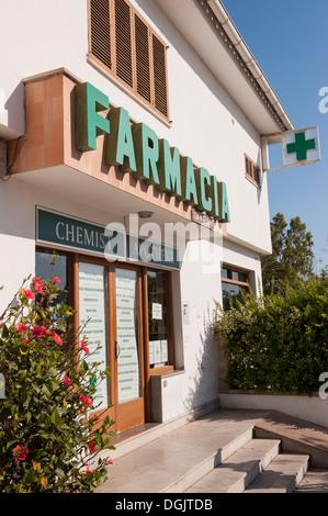 Chemist shop in Mallorca. - Stock Photo