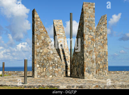 Millennium Monument, oriented after the sun, symbolising the Latin number MM, 2000, Point Udall, at the easternmost - Stock Photo