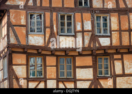 Historic half-timbered house, detail, Eppingen, Baden-Wuerttemberg - Stock Photo