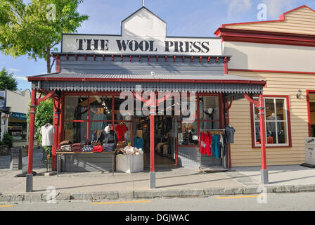 Historic building, wool and textile shop in the former gold mining town of Arrowtown, South Island, New Zealand - Stock Photo