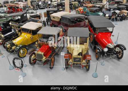 Four vintage cars, from left to right, FN Oldtimer, built in 1914, Clement Talbot Roadster, built in 1909, Austin - Stock Photo
