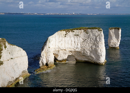 Old Harry Rocks which are chalk formations off the coast near Studland. - Stock Photo