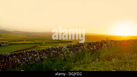 A view across the Yorkshire Dales at sunset. - Stock Photo