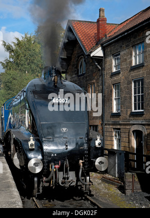 A4 Pacific Sir Nigel Gresley at Grosmont Station on the North Yorkshire Moors Railway North Yorkshire England UK - Stock Photo