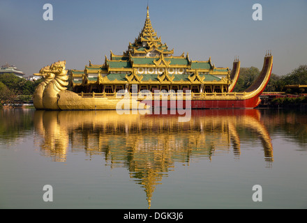 The Karaweik Royal Barge on the eastern shore of Kandawgyi Lake in Yangon in Myanmar. - Stock Photo