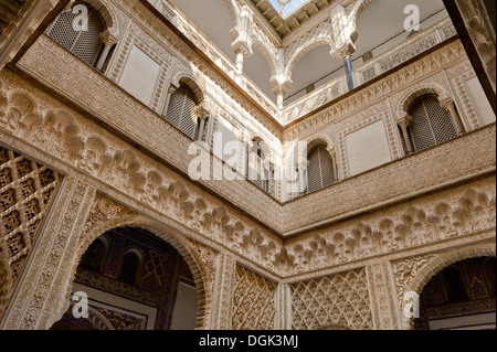 Spain, Andalucia, Seville, Alcazar Palace, the Patio de las Munecas ( courtyard of the dolls ) - Stock Photo