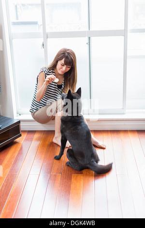 Woman feeding dog in living room - Stock Photo