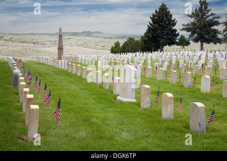 National military cemetery at Little Big Horn in Wyoming. - Stock Photo
