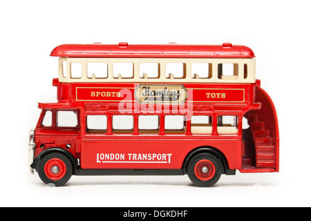 Matchbox diecast replica of London Transport double decker bus with advertising on the side for Hamleys Toy Shop - Stock Photo