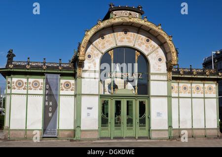 Karlsplatz Pavilion Metropolitan railway station in Vienna. - Stock Photo