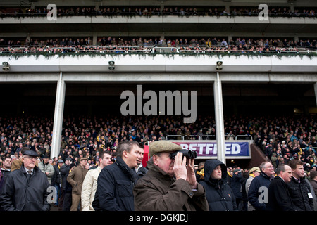 The crowd at the Cheltenham Festival during the Gold Cup Day. - Stock Photo