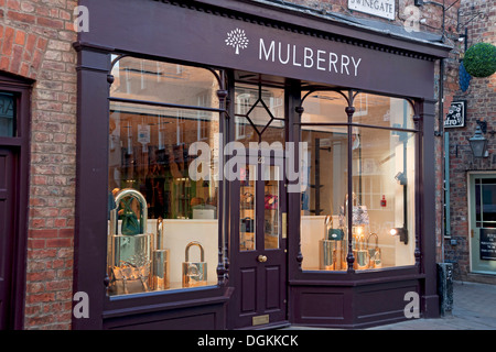 Mulberry shopfront Swinegate. - Stock Photo