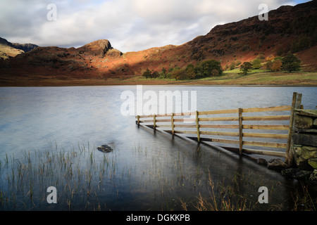 Stormy afternoon light at Blea Tarn in the Lake District. - Stock Photo