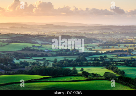 Early morning views across west Dorset from Pilson Pen hill fort which is the highest point in Dorset. - Stock Photo