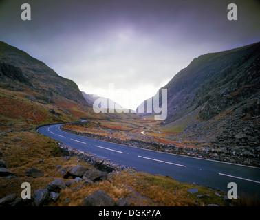 A winter's view of Llanberis Pass. - Stock Photo