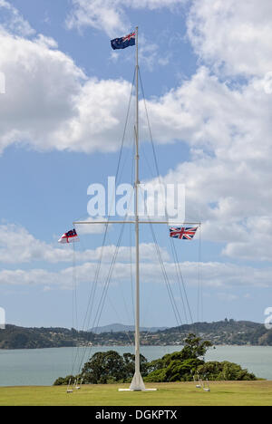 Flagpole, Waitangi Treaty Grounds, Waitangi, North Island, New Zealand - Stock Photo