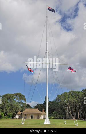 Flagpole in front of the Treaty House, Waitangi Treaty Grounds, Waitangi, North Island, New Zealand - Stock Photo