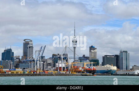 Skyline with a container-port, Auckland City, North Island, New Zealand - Stock Photo