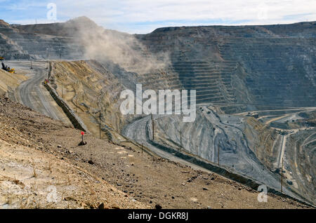 Dust cloud after a blast, detonation, Kennecott Utah Copper's Bingham Canyon Mine, Copperton, Utah, USA - Stock Photo