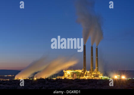Coal power plant, Navajo Generating Station at night, Navajo Nation Reservation, Page, Arizona, United States - Stock Photo