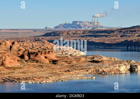 Lake Powell with a coal power plant, Navajo Generating Station, Lake Powell, Page, Arizona, United States - Stock Photo