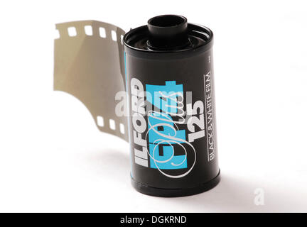 Roll of black and white film, analog photography - Stock Photo