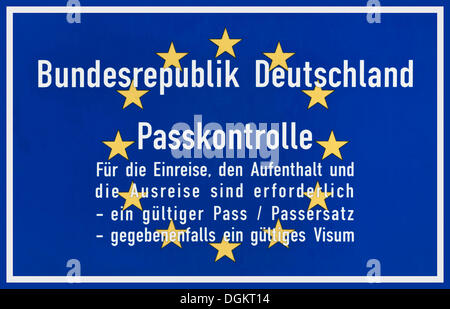 Blue sign with Europe stars, passport control Federal Republic of Germany - Stock Photo