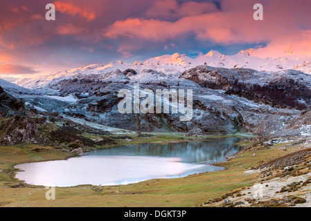 A view over Lake Ercina in the Picos de Europa National Park. - Stock Photo
