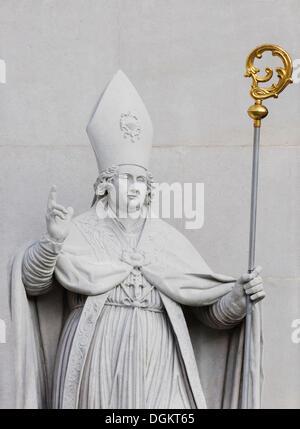 Statue of the Patron Rupert at Salzburg Cathedral, Salzburg, UNESCO World Heritage Site, Austria, Europe - Stock Photo