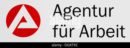 Sign with logo: Agentur fuer Arbeit or Employment Agency - Stock Photo