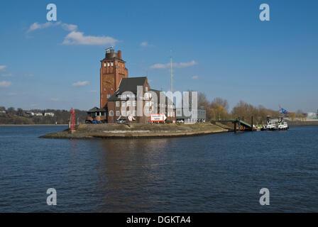 Port of Hamburg, entrance to the Tankschiffhafen, tanker port, Elbe river, Hamburg - Stock Photo