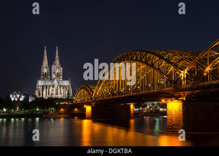 View from Cologne-Deutz to the Wallraf-Richartz-Museum, Koelner Dom, Cologne Cathedral and the Deutz Bridge, at - Stock Photo