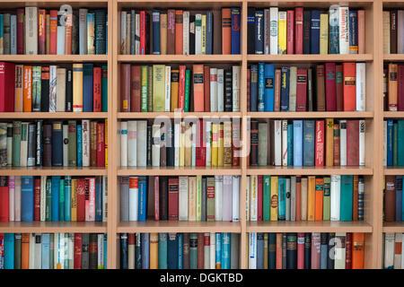 Full bookshelves, German books - Stock Photo