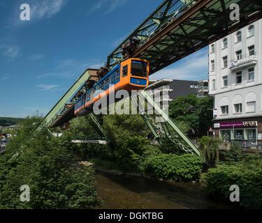 Wuppertal Schwebebahn or Wuppertal Floating Tram, suspension railway, over the Wupper river, landmark of Wuppertal - Stock Photo