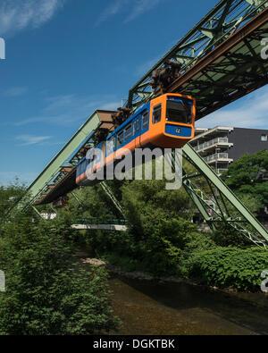 Wuppertal Schwebebahn or Wuppertal Floating Tram, suspension railway, landmark of Wuppertal, North Rhine-Westphalia - Stock Photo