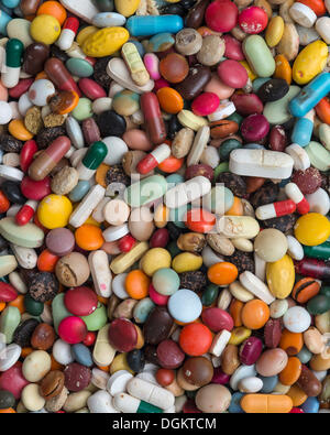 Expired medication, pills, tablets, capsules, dragees, full-frame - Stock Photo